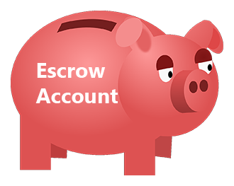 piggy bank labeled escrow account