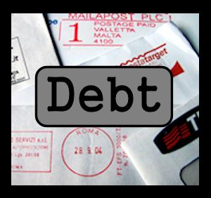 pile of debts
